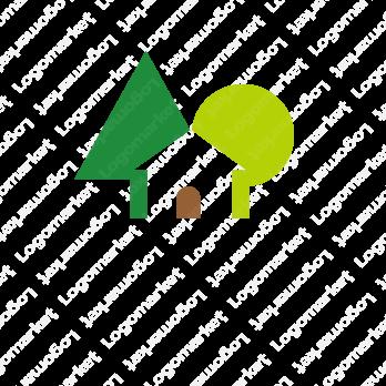 自然と木と家のロゴ 家のロゴ 名刺 デザイン 木のロゴ