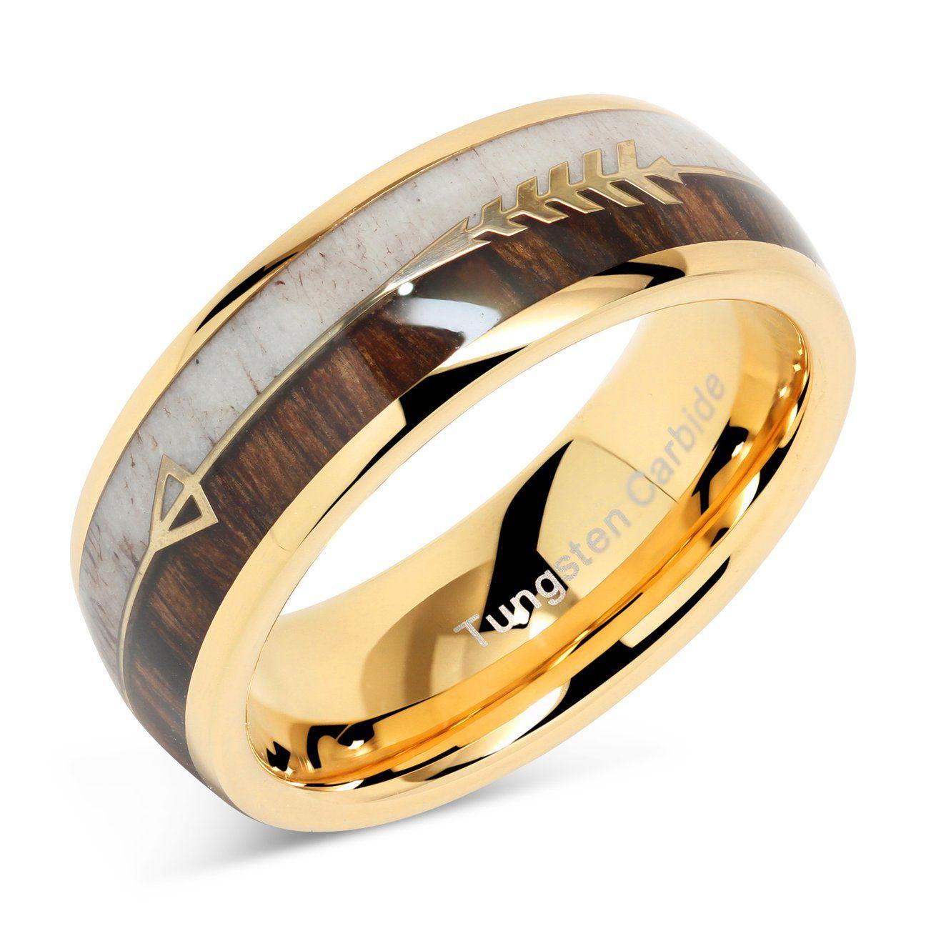 Tungsten Ring for Men Wedding Band Deer Antler Koa Wood