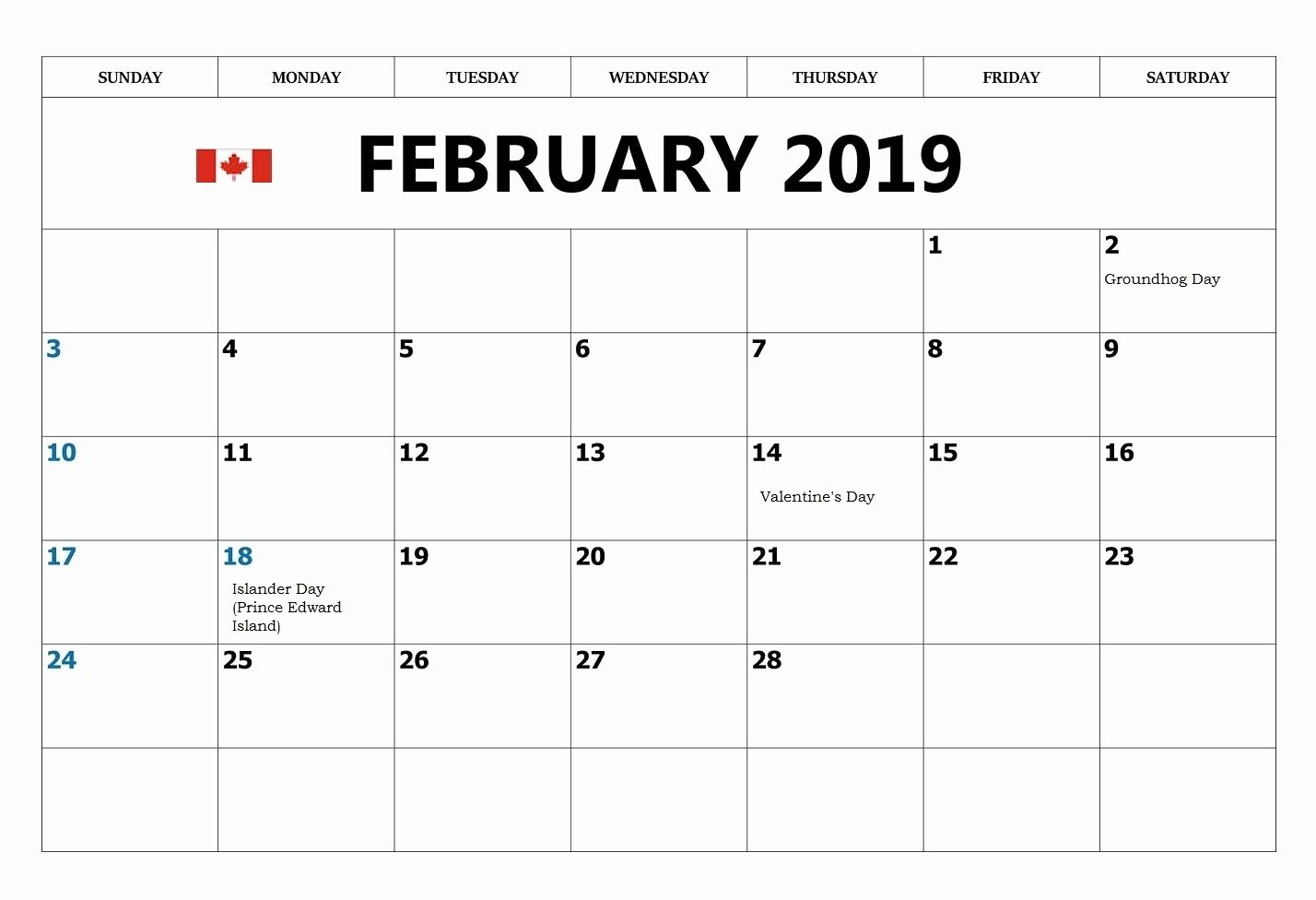 graphic relating to Free Printable Monthly Calendar With Holidays known as February 2019 Calendar Canada With Federal Vacations No cost