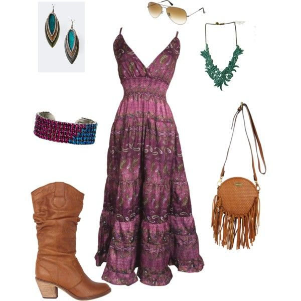 Sundress and boots, casual