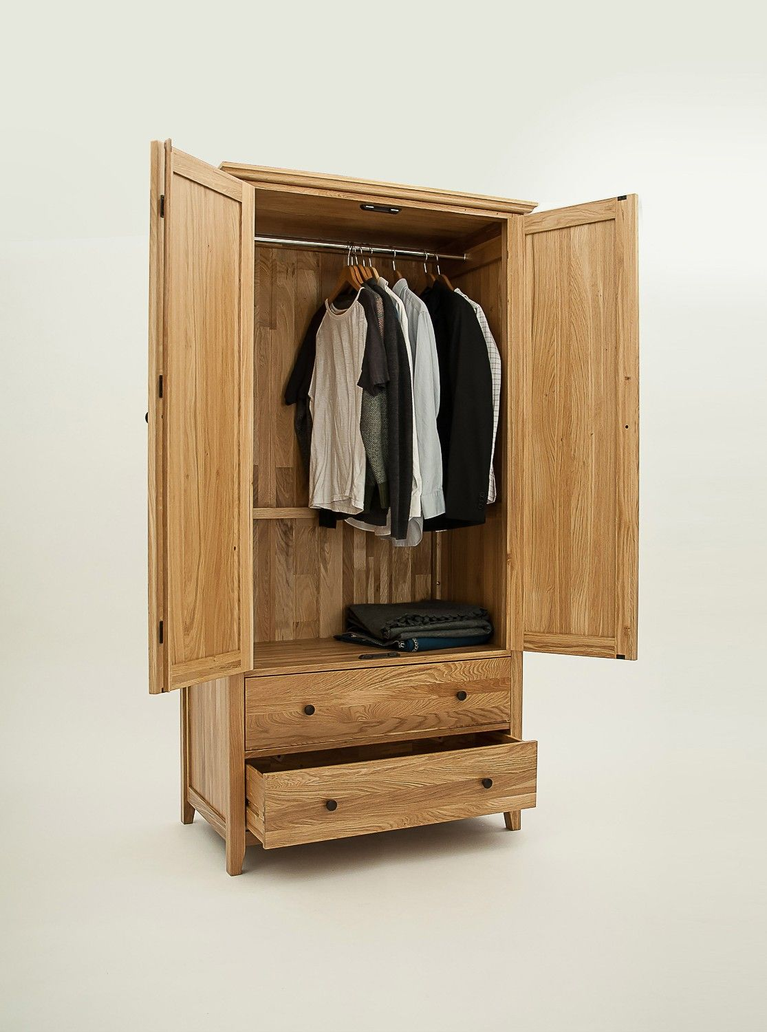 Merveilleux Hereford Rustic Oak Double Gents Wardrobe With 2 Drawers