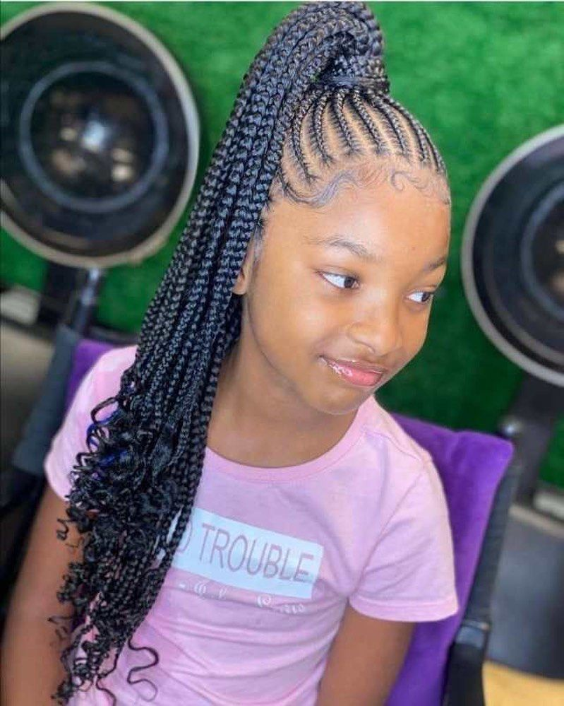 Braids Twists Bows On Instagram Braided Ponytail Ftw Braids Braidsty In 2021 Kids Braided Hairstyles Black Kids Braids Hairstyles Braids For Black Hair