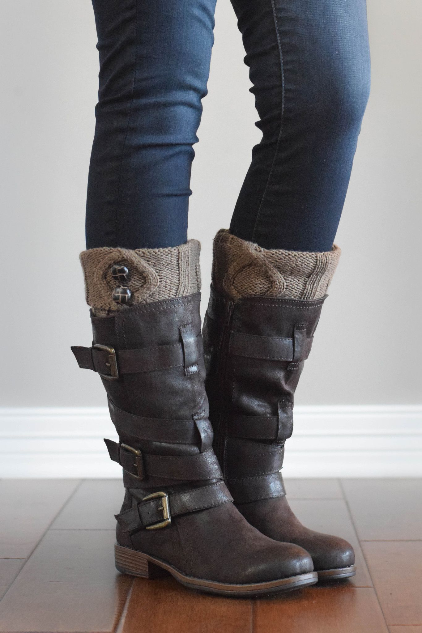 82b4f5762a4bb Mocha Two Button Boot Cuffs | My quirky style | Zapatos, Zapatos ...