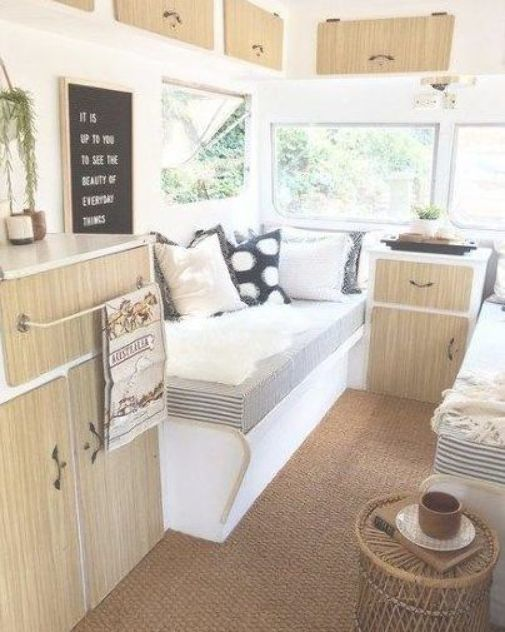 Best vintage campers interior renovation cabinets ideas