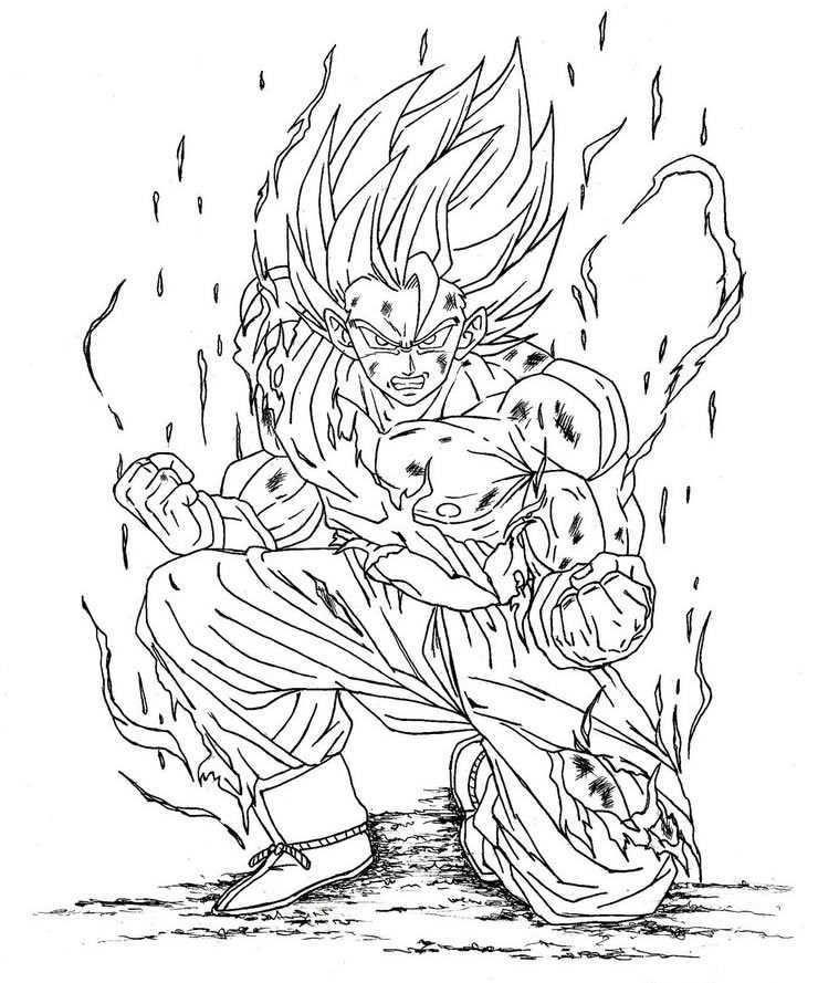 Dragon Ball Z Goku Super Sayayin Fase Dios Para Colorear