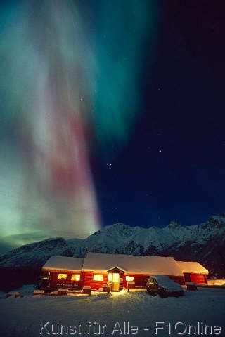 Northern Lights Over Sheep Mtn Lodge SC AK Winter Chugach Mtns