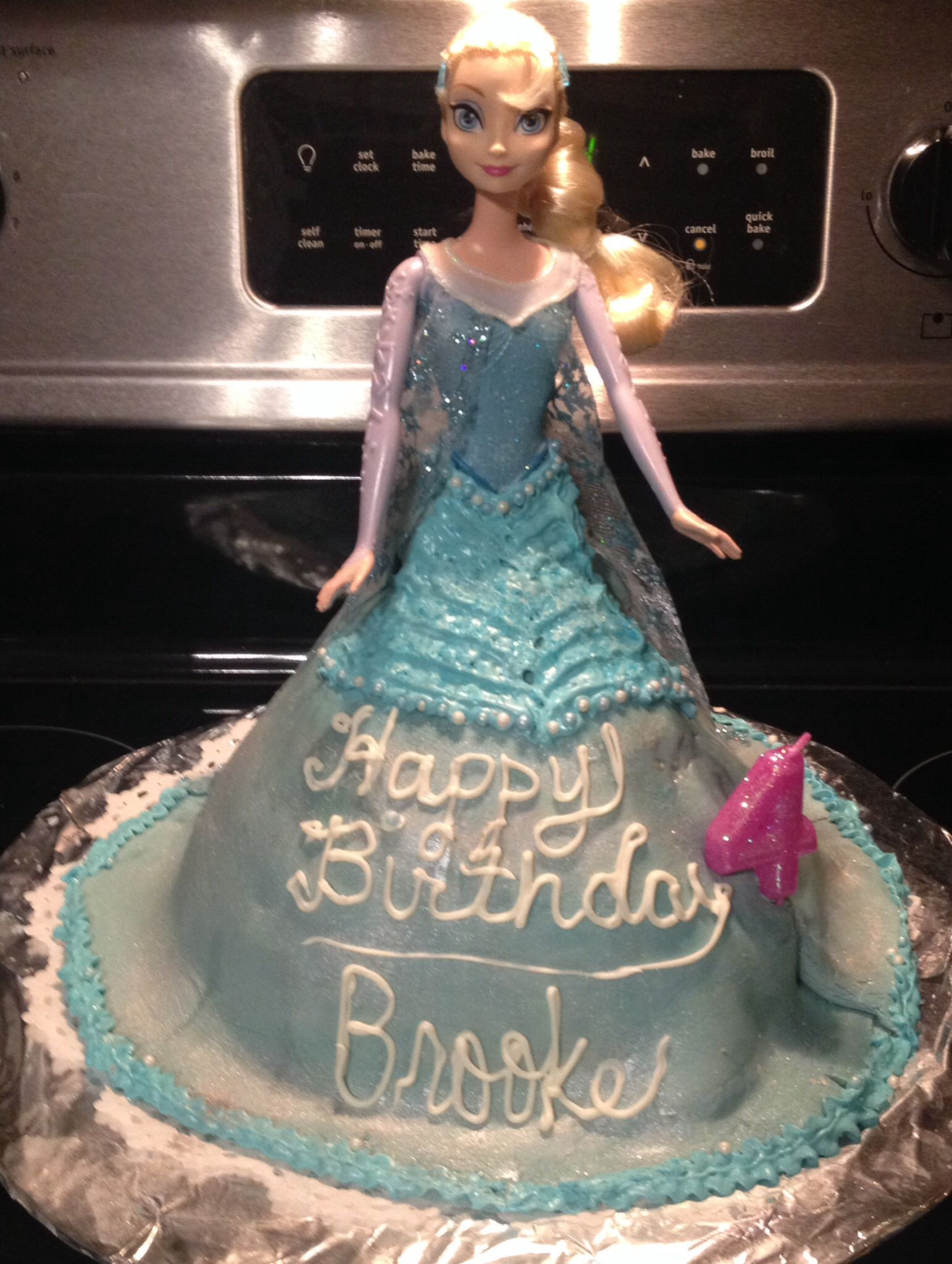 Disney Frozen Birthday Party Elsa cake I made using home made