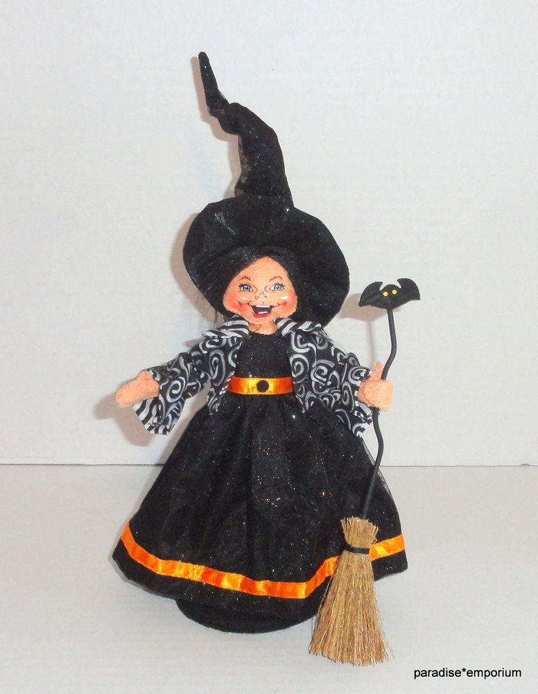 "New Annalee 9"" Halloween Good Witch Doll Bat Broom Black Orange Dress 2011 P74 #Annalee #DollswithClothingAccessories"