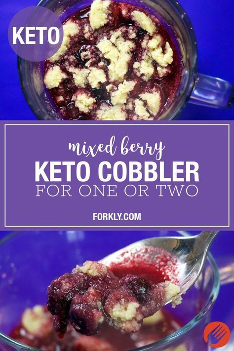 Mixed Berry Keto Cobbler For One Or Two With A Few Easy Swaps We Came Up With This Perfect Low Carb Berry Co Berries Recipes Keto Fruit Quinoa Recipes Easy