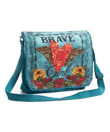 Blue 'Brave Girl' Messenger Bag by Melody Ross Brave Girl Fashion #zulily #zulilyfinds
