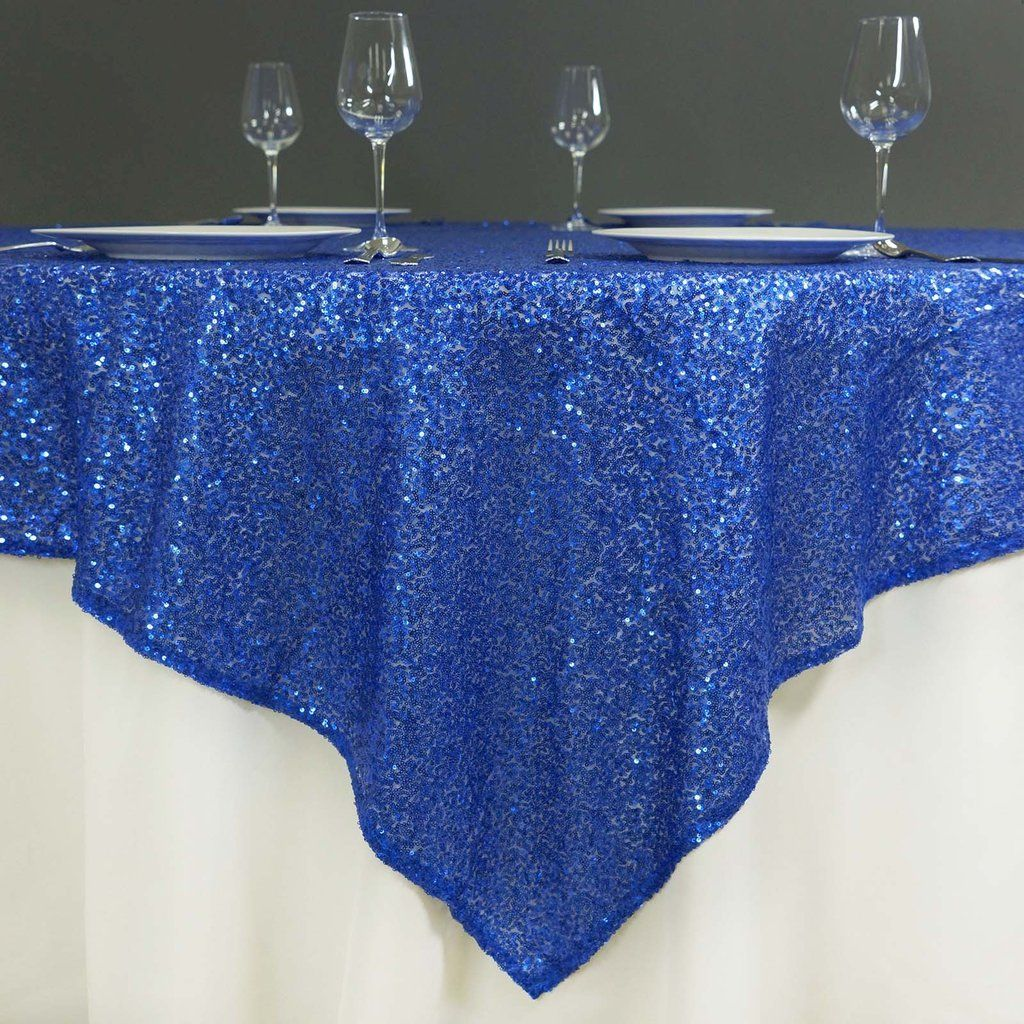 "60"" x 60"" Royal Blue Duchess Sequin Square Overlay in 2020"