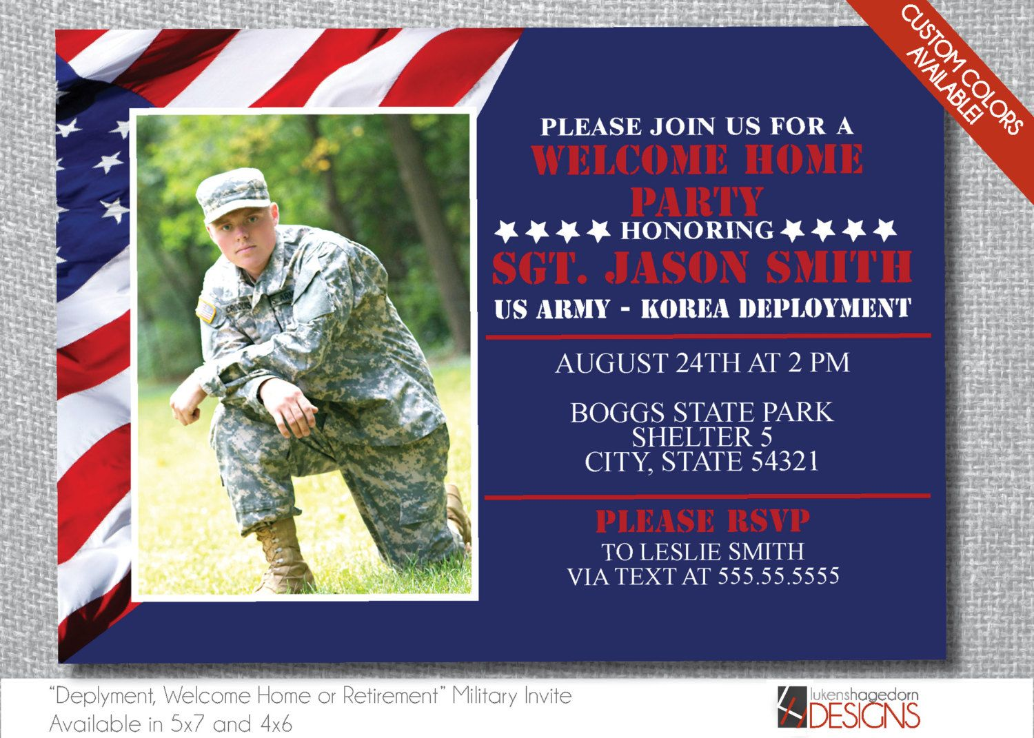 Military Party Invitation with Picture - Deployment, Welcome Home ...