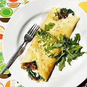 Caramelized Onion, Arugula, and Goat Cheese Omelet