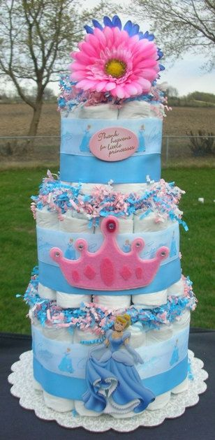 Disney Cinderella Princess Diaper Cake Baby Shower Centerpiece Gift