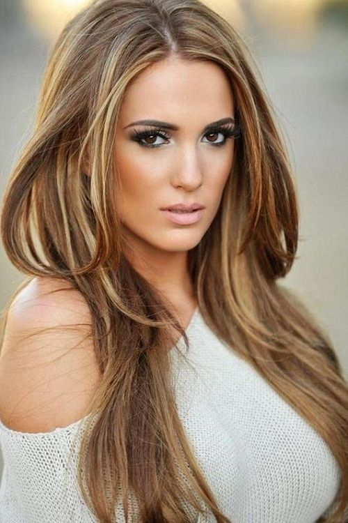Beautiful Long Brown Hairstyles With Blonde Highlights For Women