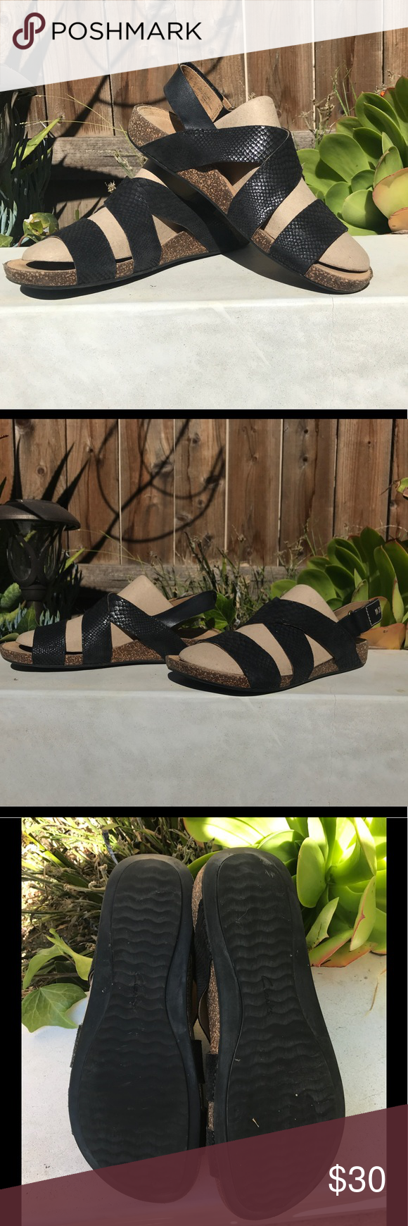 d8b2910a8f90 Clarks Perri Dune Sandals Great strap sandal with Velcro strap around heel.  Embossed snake on man made upper. Very supportive. In great pre owned  condition.