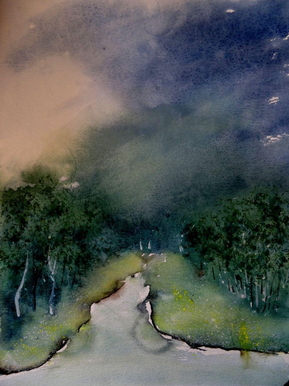 Aquarell Landschaft Landschaftsaquarell Blau Grun Kunst