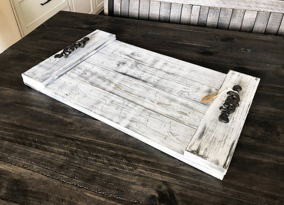 Amazing Distressed Wood Tray Wood Serving Tray Wooden Tray Coffee Spiritservingveterans Wood Chair Design Ideas Spiritservingveteransorg