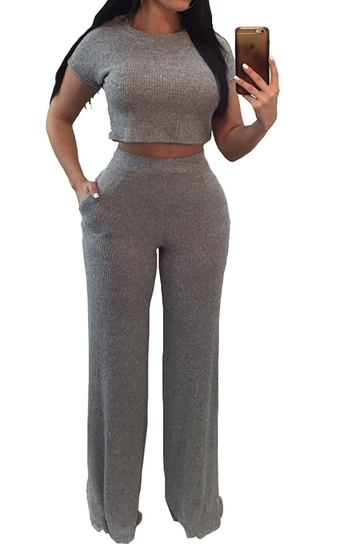 3020f82764e Women s Sexy Short Sleeve Crop Top High Waist Long Pants Knit Two ...