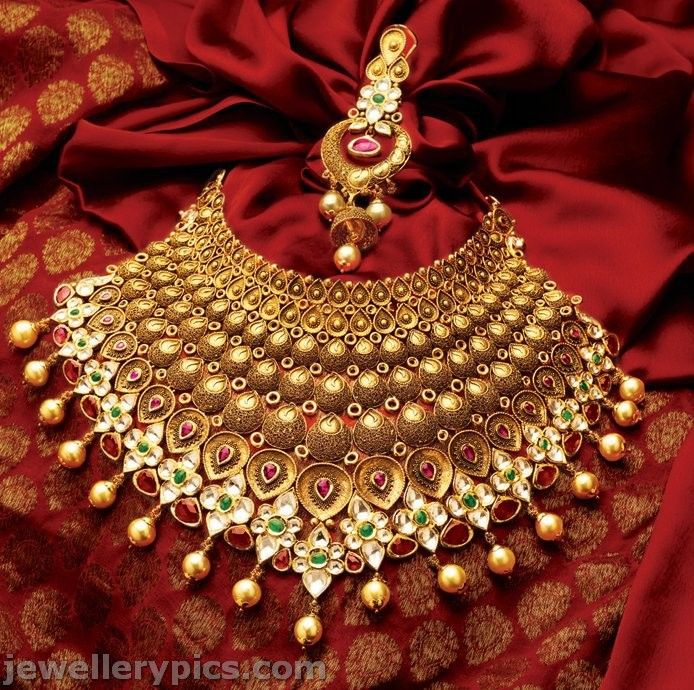 0756deacb Exclusive TBZ gold necklace choker bridal collection designs - Latest Jewellery  Designs