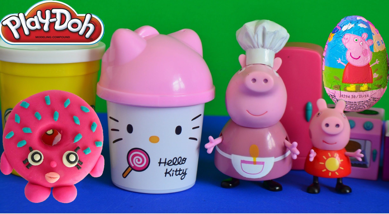Peppa Pig Play Doh Donut Hello Kitty Surprise Eggs Peppa