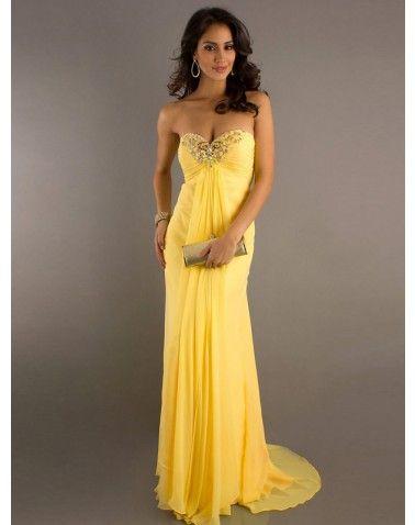 strapless beaded chiffon long prom dresses  prom dresses yellow prom dresses gowns chiffon