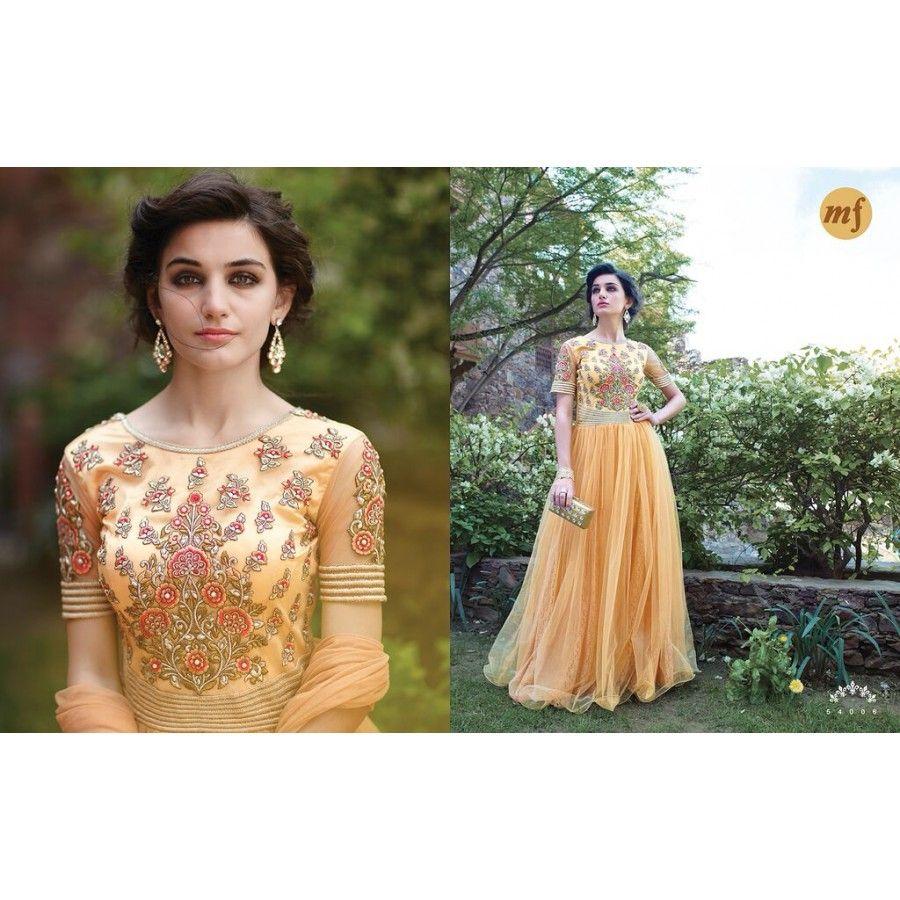 Ekanshi Designer Orange Wedding Party Wear Gown - Buy Ekanshi ...