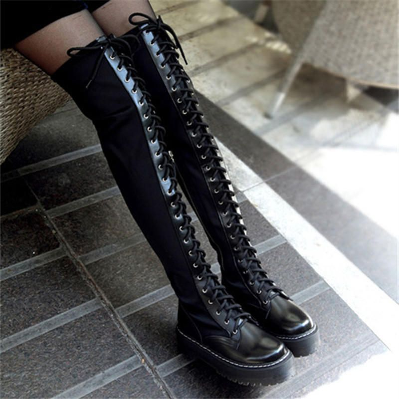 0bb86d26627 2013 Cyber Monday Sale Winter Punk Black Thick Sole Creepers Flat Platform  Over The Knee Lace Up Thigh High Boots For from Dropkicks. Saved to Cute.