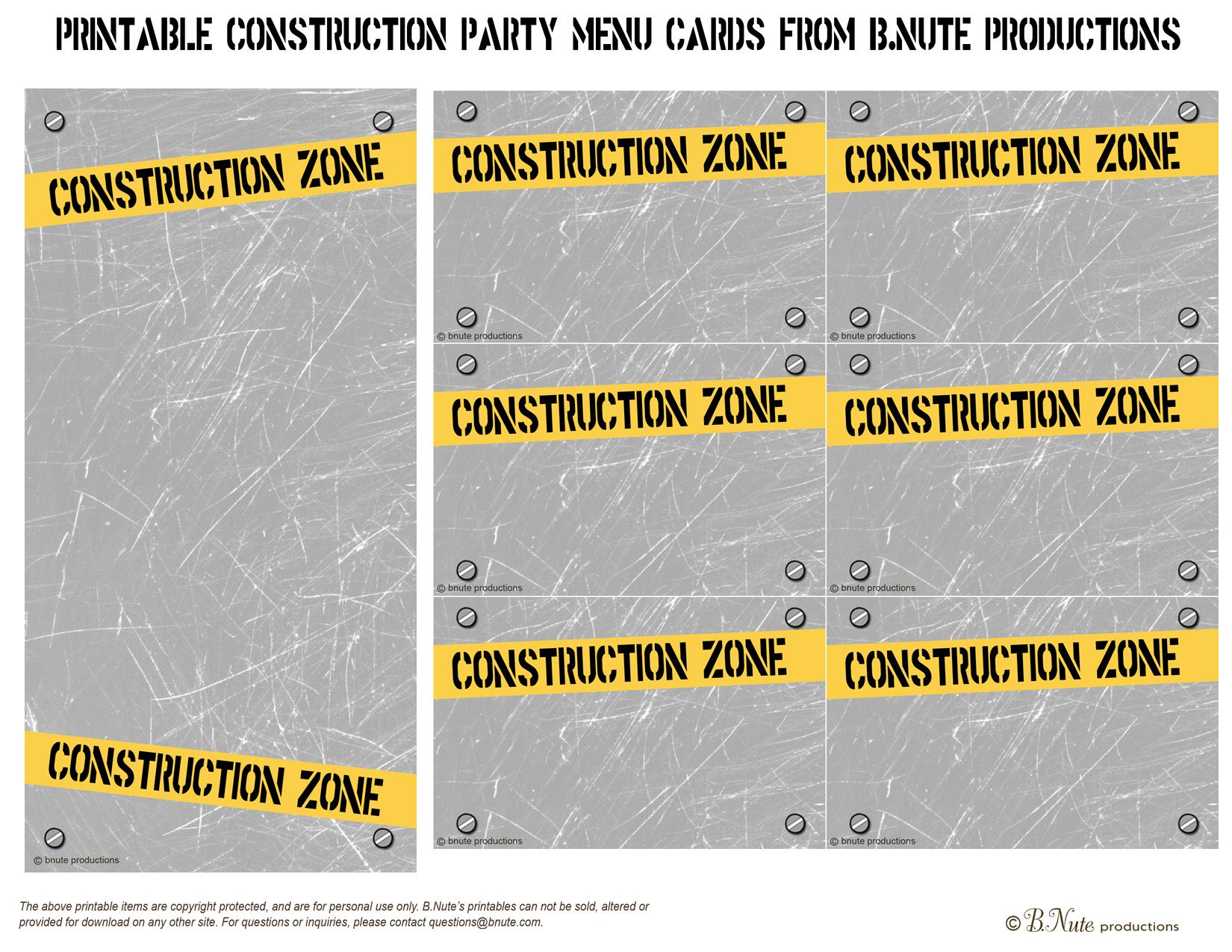 bnute productions free printable construction party menu cards