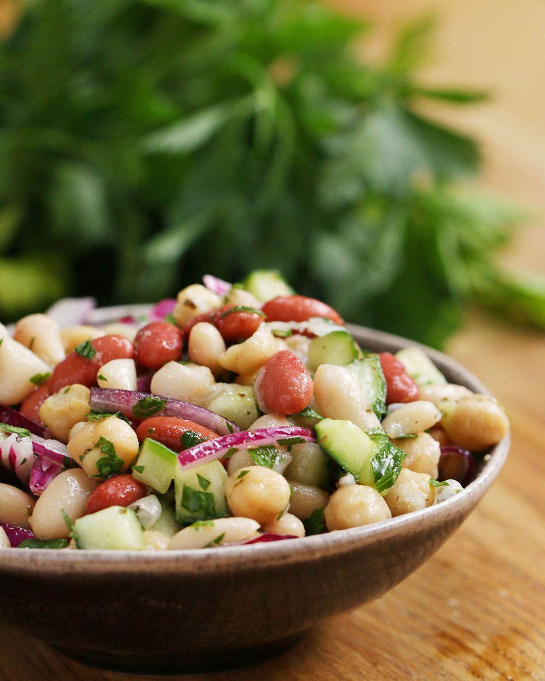Three Bean Salad Recipe By Tasty Recipe Bean Salad Recipes Three Bean Salad Bean Recipes
