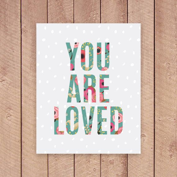 You Are Loved Nursery Printable Art Print by PaperCanoePrintables
