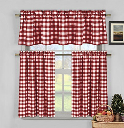 Red And White Gingham Kitchen Curtains Farmhouse Kitchen Curtains Red Kitchen Curtains Curtain Decor