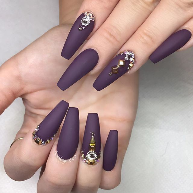 Nailsbymztina On Instagram For The Lovely Krystlelynnne Plum Nails Purple Nails Coffin Nails Designs