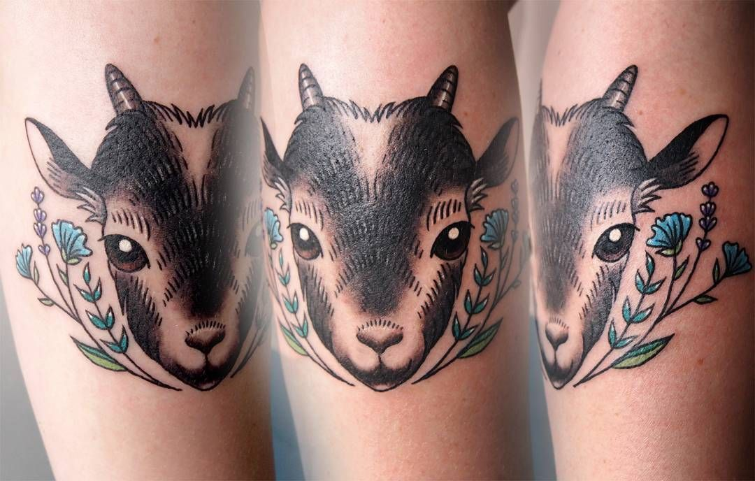 Cutie Little Goat And Flowers For Sara Not Even A Little Satanic Tattoo Tattoos Tattoosofinstagram Tattoosofig Goa Tattoo Goat Mom Tattoos Farmer Tattoo