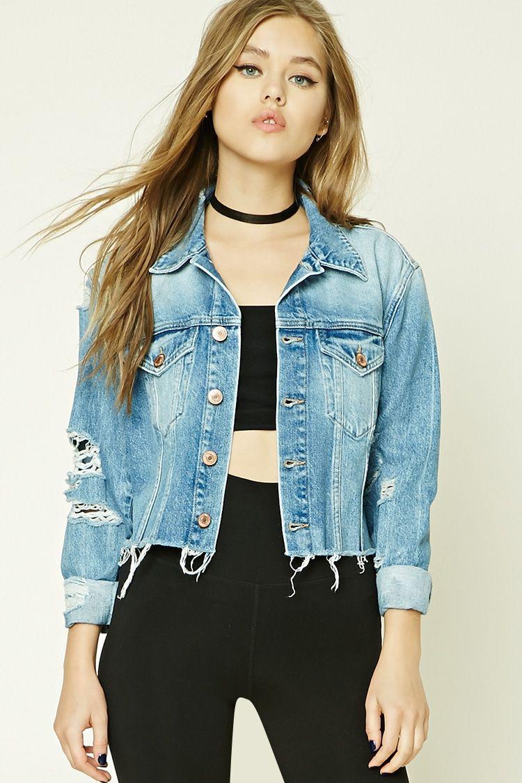 A Denim Jacket Featuring A Distressed Design Button Front Basic Collar Two Front Buttoned Flap Chest Pocke Denim Fashion Diy Denim Jacket Denim Jacket Women [ 1125 x 750 Pixel ]