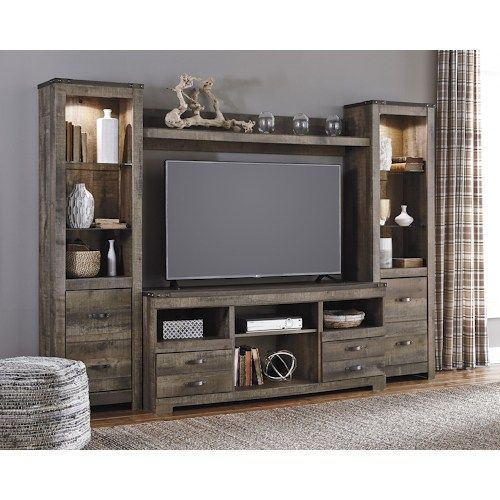 Signature Design by Ashley Trinell Rustic Large TV Stand & 2 Tall ...