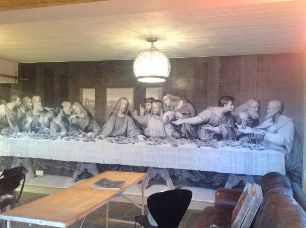 Last supper wall mural displayed in a dining area Real Homes Decor