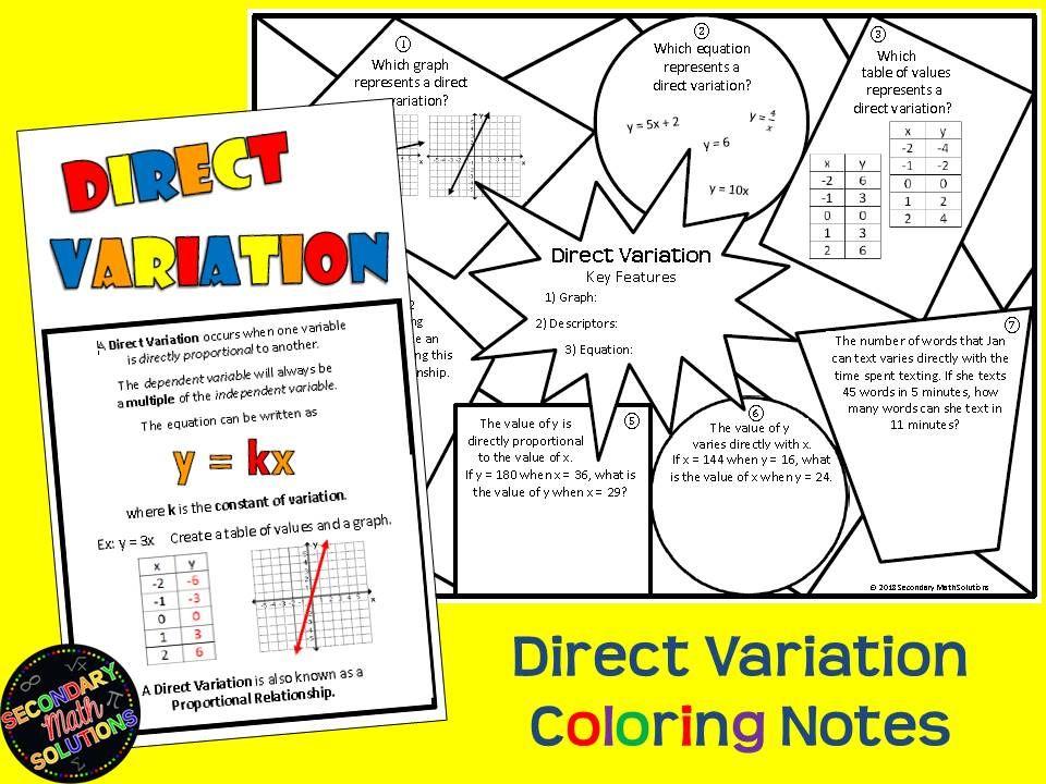 Direct Variation Notes (8.5A, 8.5E, A2D) | Math lesson ...