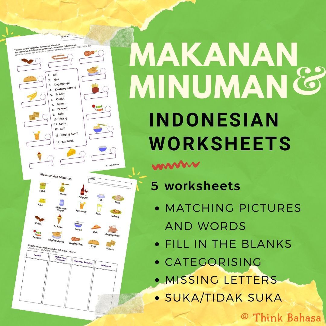 Food And Drink In Indonesian Worksheets Amp Answer Keys