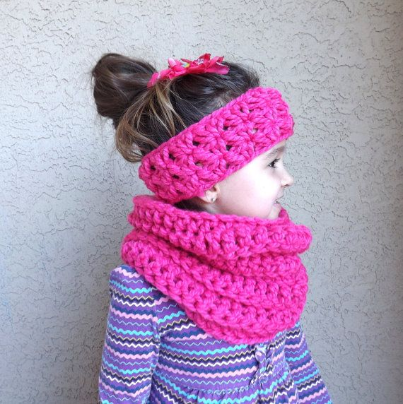 Crochet Chunky Kids Cowl and Ear Warmer Set by MyNicePurses ...