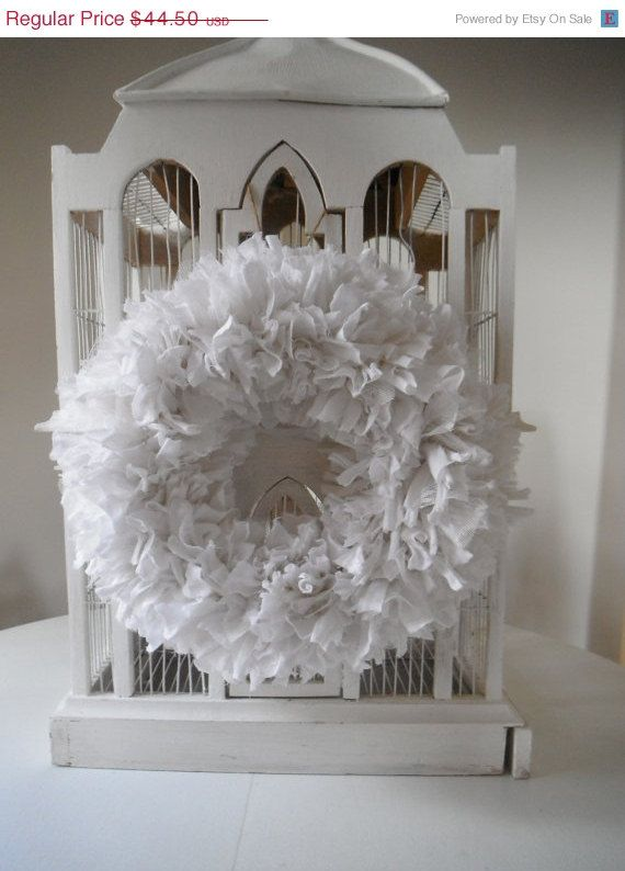 shabby chic white rag wreath holiday decor christmas by ShabbyRoad