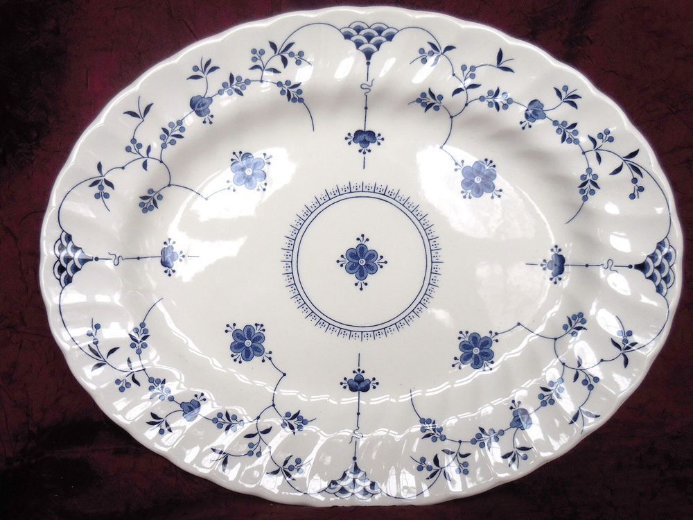 Staffordshire Churchill Blue White Finlandia Floral 12 Inch Oval Platter England Oval Platter Blue And White Platters