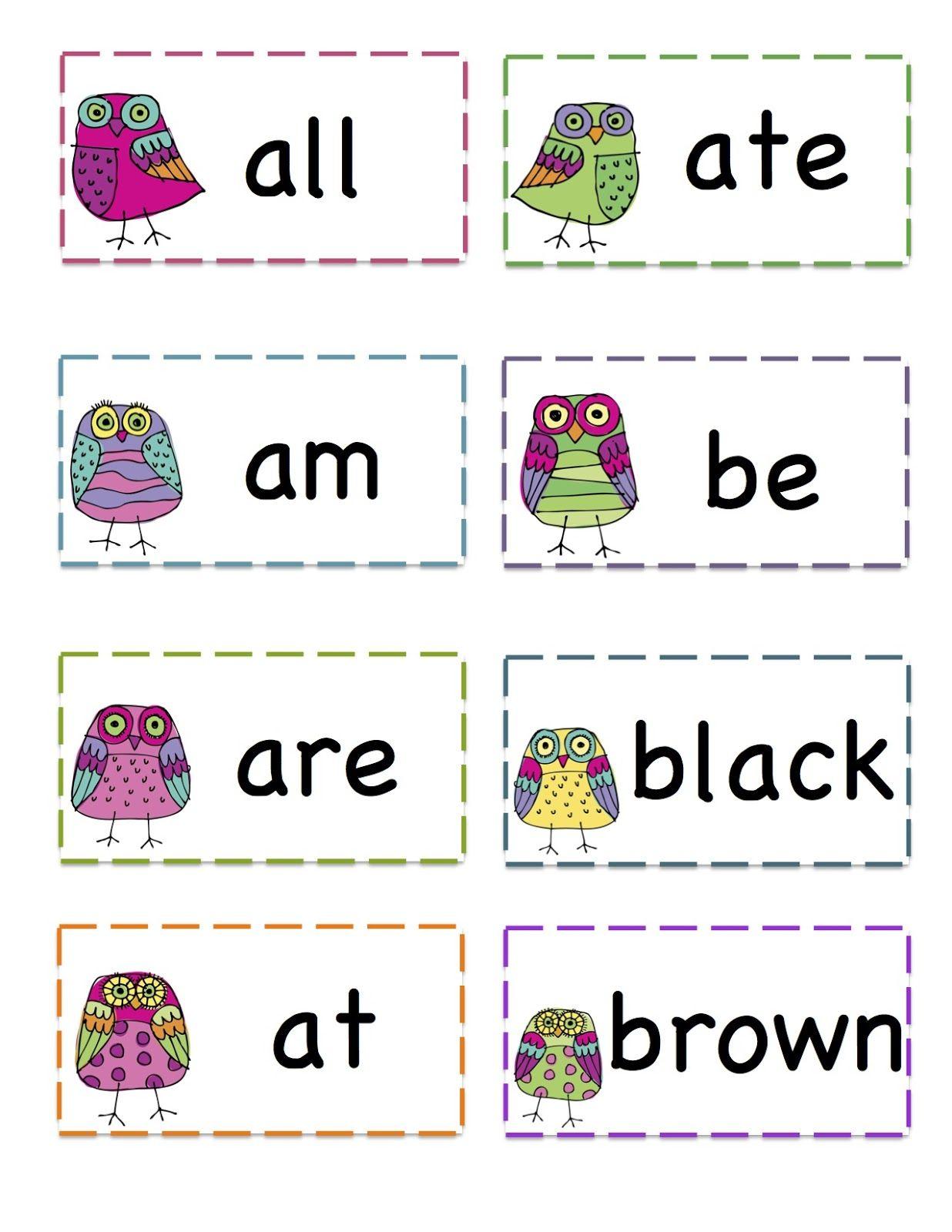 Owls Primer Sight Words Printable