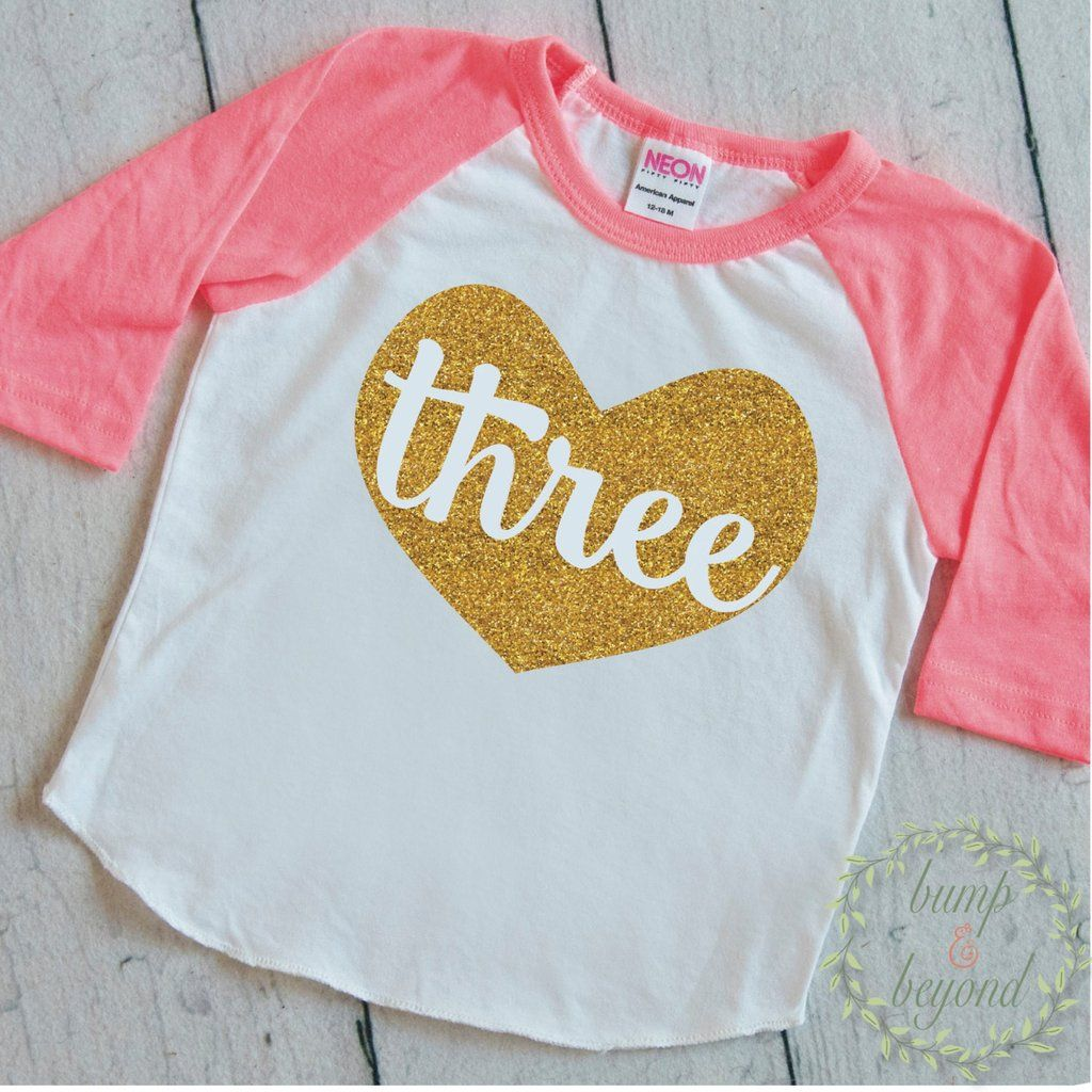 Three Year Old Birthday Outfit 3 Shirt Toddler Girl Raglan 3rd Glitter Gold Clothes 103