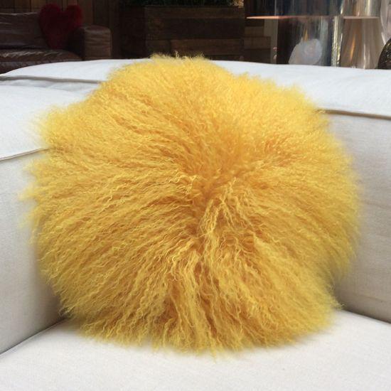 Sunflower Tibetan Lamb Round Cushion