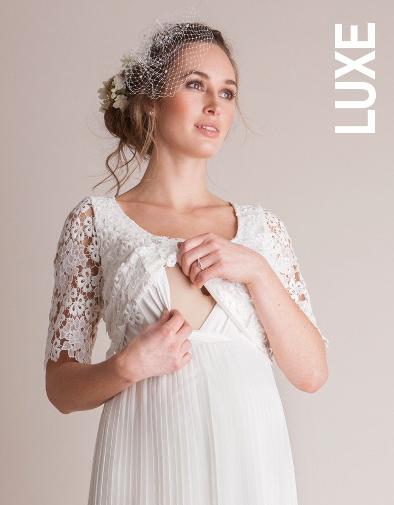 2060f5c2a3006 Concealed nursing access Elegantly pleated woven skirt Crochet lace  overlaid bodice Belted empire waist Scoop neckline Glamorous lace, a  flattering fit ...