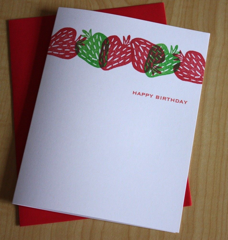 Strawberries Happy Birthday Handmade Greeting Card Card Ideas