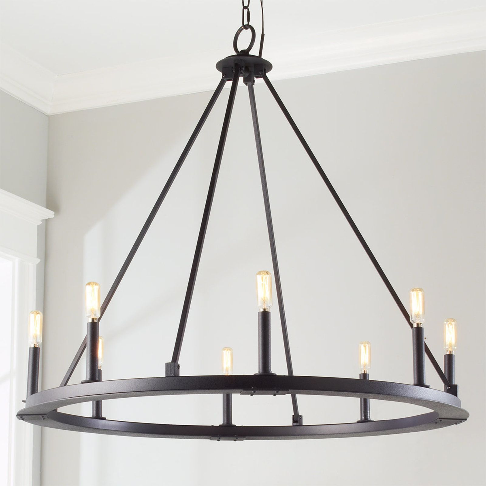 Minimalist Iron Ring Chandelier 8 Light Circular Chandelier Iron Chandeliers Minimalist Chandelier