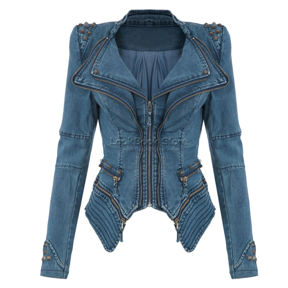 b3a3eccf3819 Sharp Power Studded Shoulder Notched Lapel Denim Jeans Tuxedo Coat Blazer  Jacket