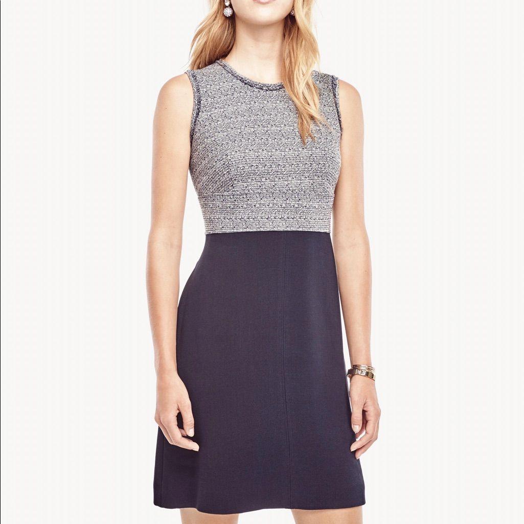 Ann Taylor Tweed Flare Dress